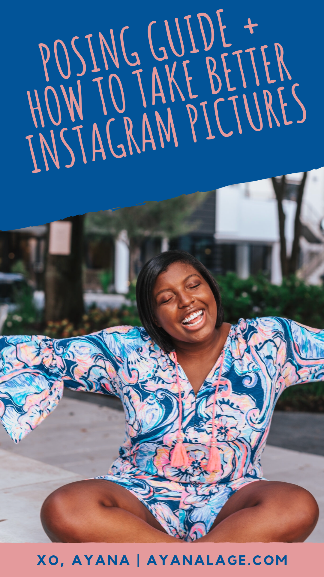 "Popular Tampa blogger Ayana Lage sits in Hyde Park Village Tampa in a Lilly Pulitzer Del Lago Romper. Text says, ""How to take better Instagram pictures."""