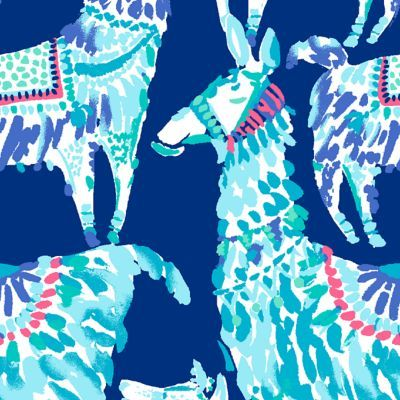 Whimsical Lilly Pulitzer print featuring aqua and pink alpacas against a solid navy background