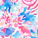 Lilly Pulitzer print with watercolor style pink shells on a royal blue background