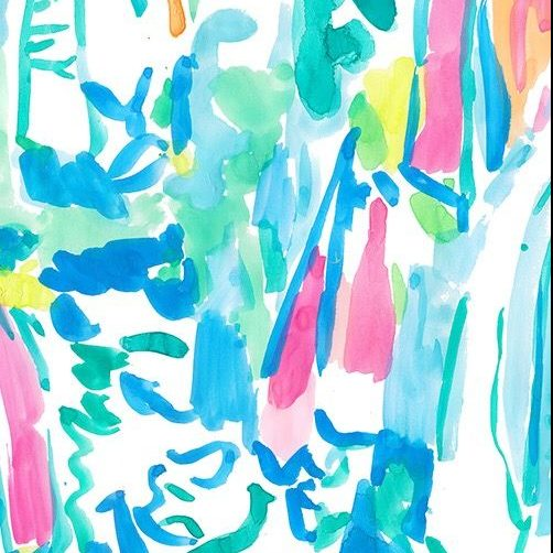 Lilly Pulitzer print with a watercolor sailboat pattern with vibrant shades of blue, pink, and green