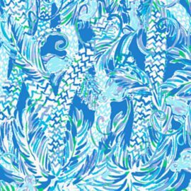 Blue, white and green Lilly Pulitzer print with palm trees