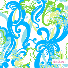 light blue, white and green Lilly Pulitzer print with curly cues