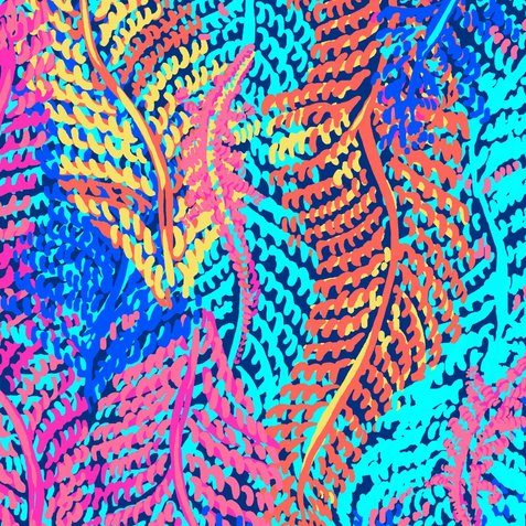 Vibrant Lilly Pulitzer print with multicolor feathers