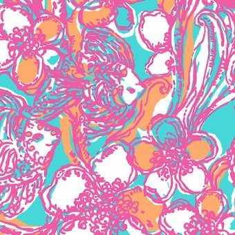 Lilly Pulitzer print with a unique and vibrant colorway of aqua, pink, and orange. Features a floral print with hidden fish swirled into them.