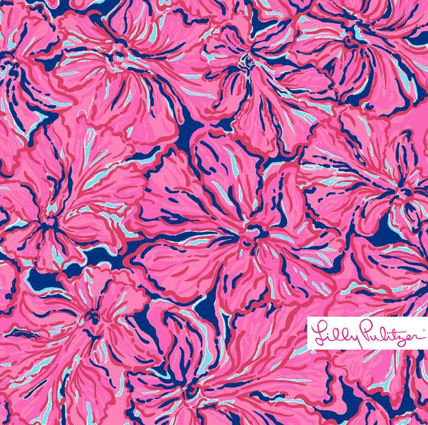 Lilly Pulitzer print with vibrant pink flowers on a deep navy background