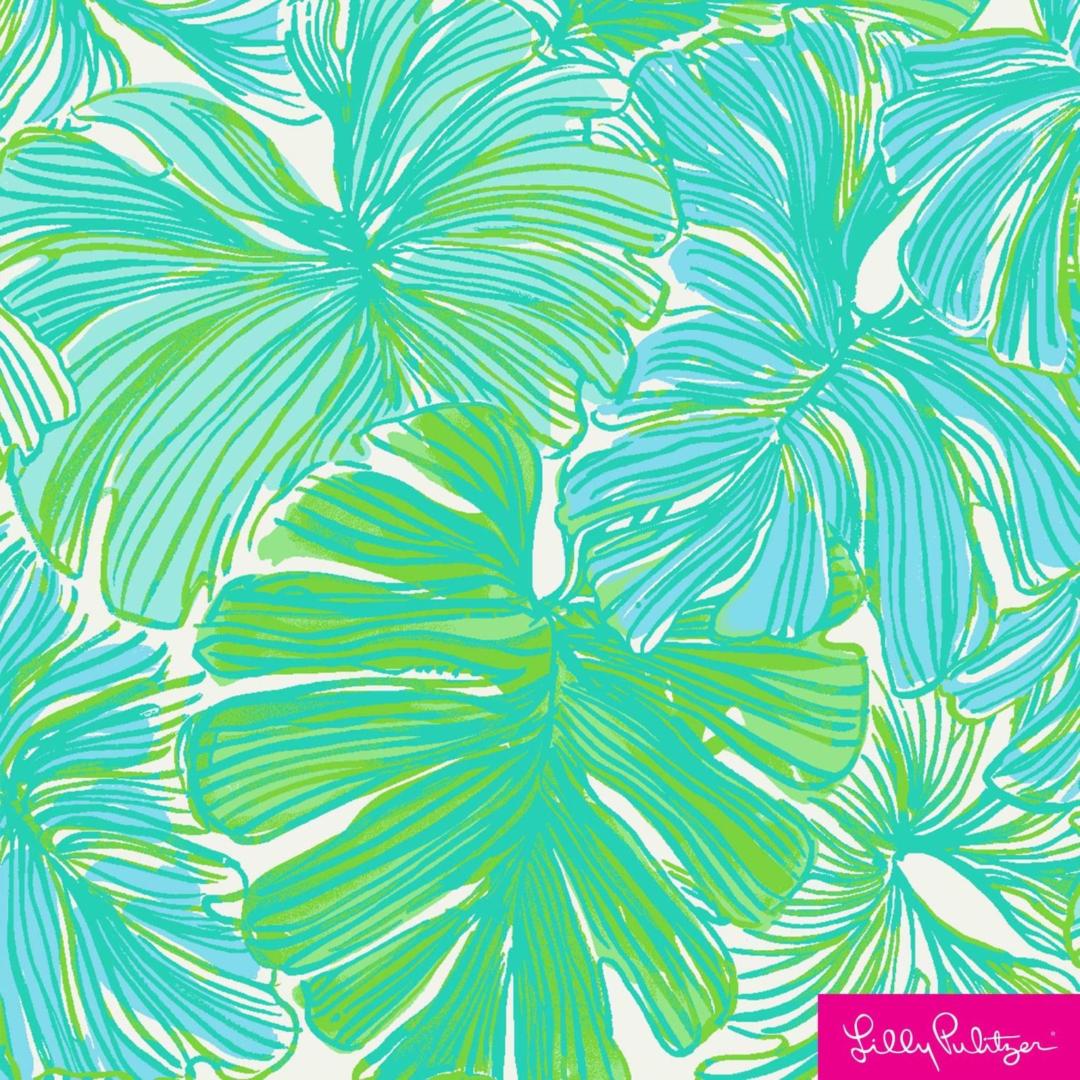 Lilly pulitzer print with green and light blue leaves