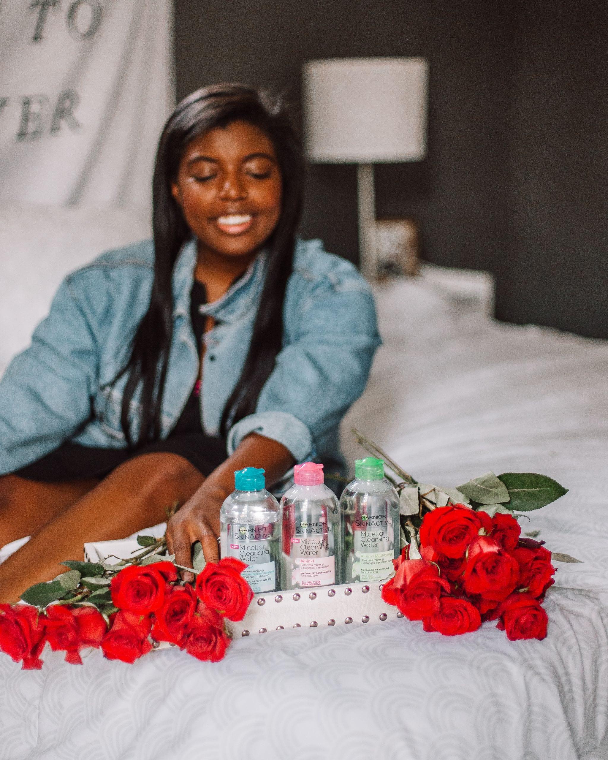 Blogger poses with Garnier Micellar water