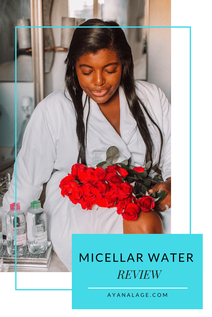 Tampa Blogger Ayana Lage sits on a countertop with fresh-cut roses and Garnier micellar water