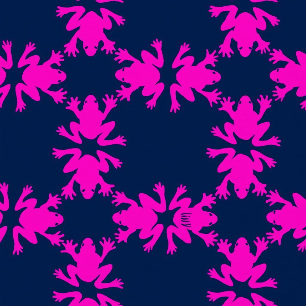 Lilly Pulitzer Get Hoppy print with neon pink frogs positioned in a kaleidoscope style pattern on a deep navy background