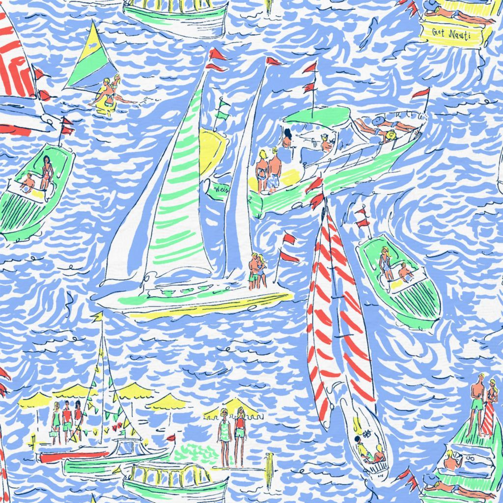 Lilly Pulitzer print with people on boats on a blue background