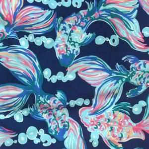 Lilly Pulitzer Going Coastal print featuring Koi fish in a swirl of pink, orange and teal blues.