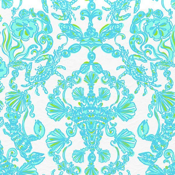 Light blue and green Lilly Pulitzer print with crabs and seashells