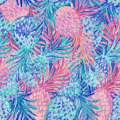 Lilly Pulitzer print with layered large pineapples in shades of coral and blue.