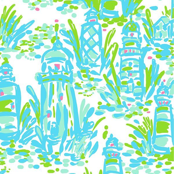 Lilly Pulitzer print with lighthouses on a white background