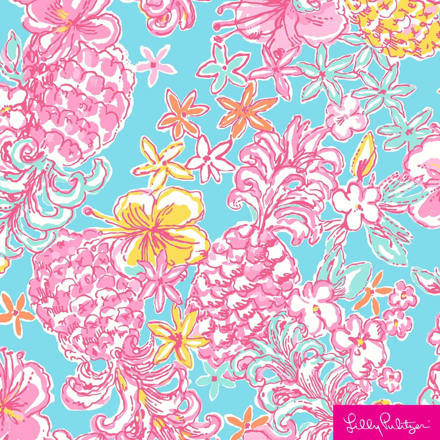 Large pink pineapples and yellow hibiscus flowers on a soft blue background