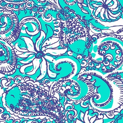 Lilly Pulitzer print with blue and white flowers and fish on a seafoam background.