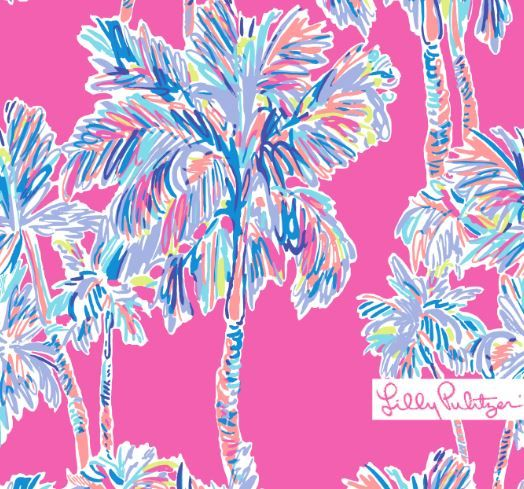 Simplistic Lilly Pulitzer print with multicolor palm trees in a linear format on a deep Flamingo pink background