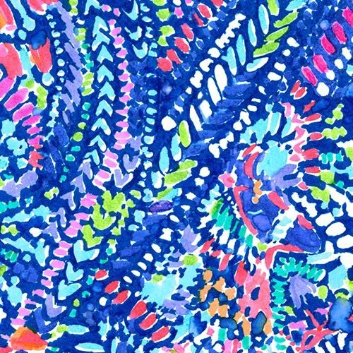 Lilly Pulitzer print with abstract llamas on a bright patterned background