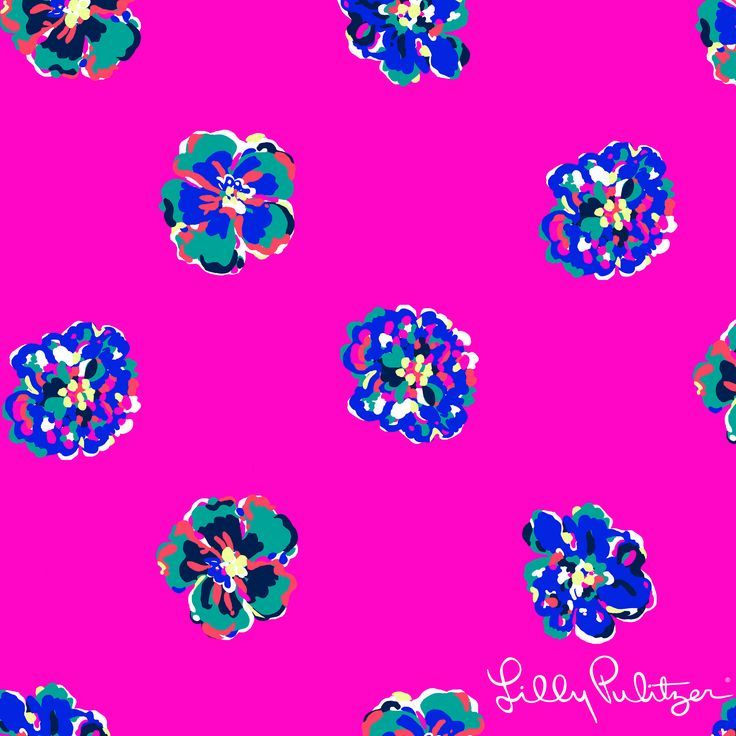 Minimalistic Lilly Pulitzer floral print on pink background