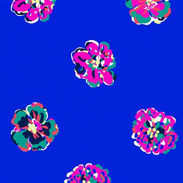 Minimalistic Lilly Pulitzer floral print with pink, green and blue