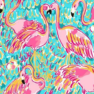 Lilly Pulitzer flamingo print on a bright aqua background with hidden shrimp