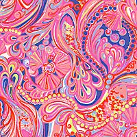 Psychedelic Lilly Pulitzer pattern featuring a coral and yellow paisley pattern on a deep purple background