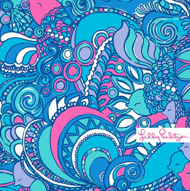 Lilly Pulitzer print featuring hidden fish in a colorful swirled pattern of blues and purples