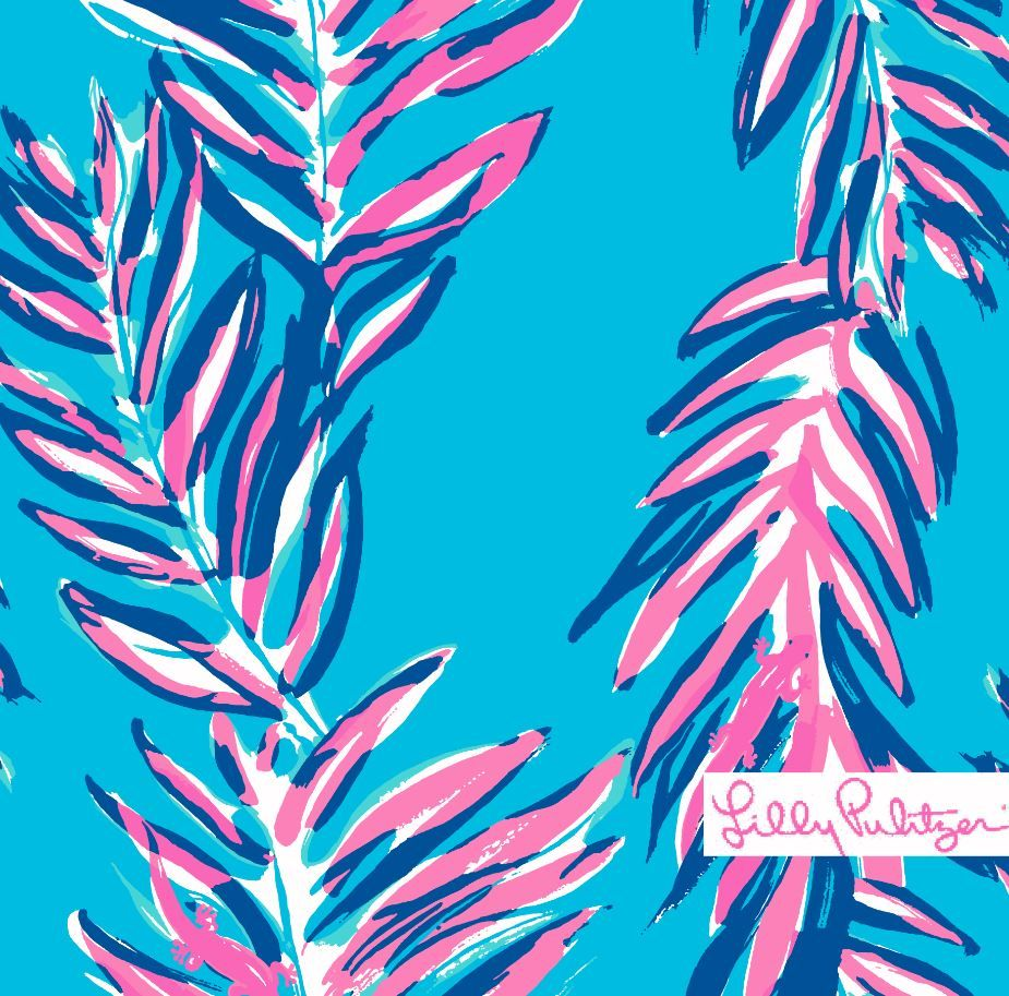 Lilly Pulitzer Minimalist print with pink leaves amongst a cerulean background