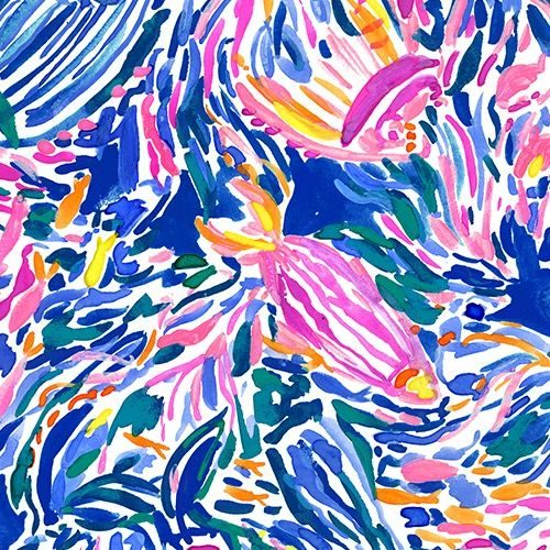 Lilly Pulitzer print with abstract fish amongst schools of smaller fish on a blue background