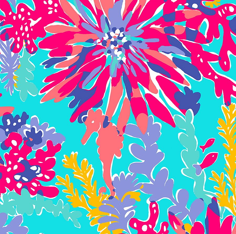 Lilly Pulitzer print with vibrant bursts of purple and pink floral patterns layered over a multicolor coral underwater scene with hidden seahorses and small fish.
