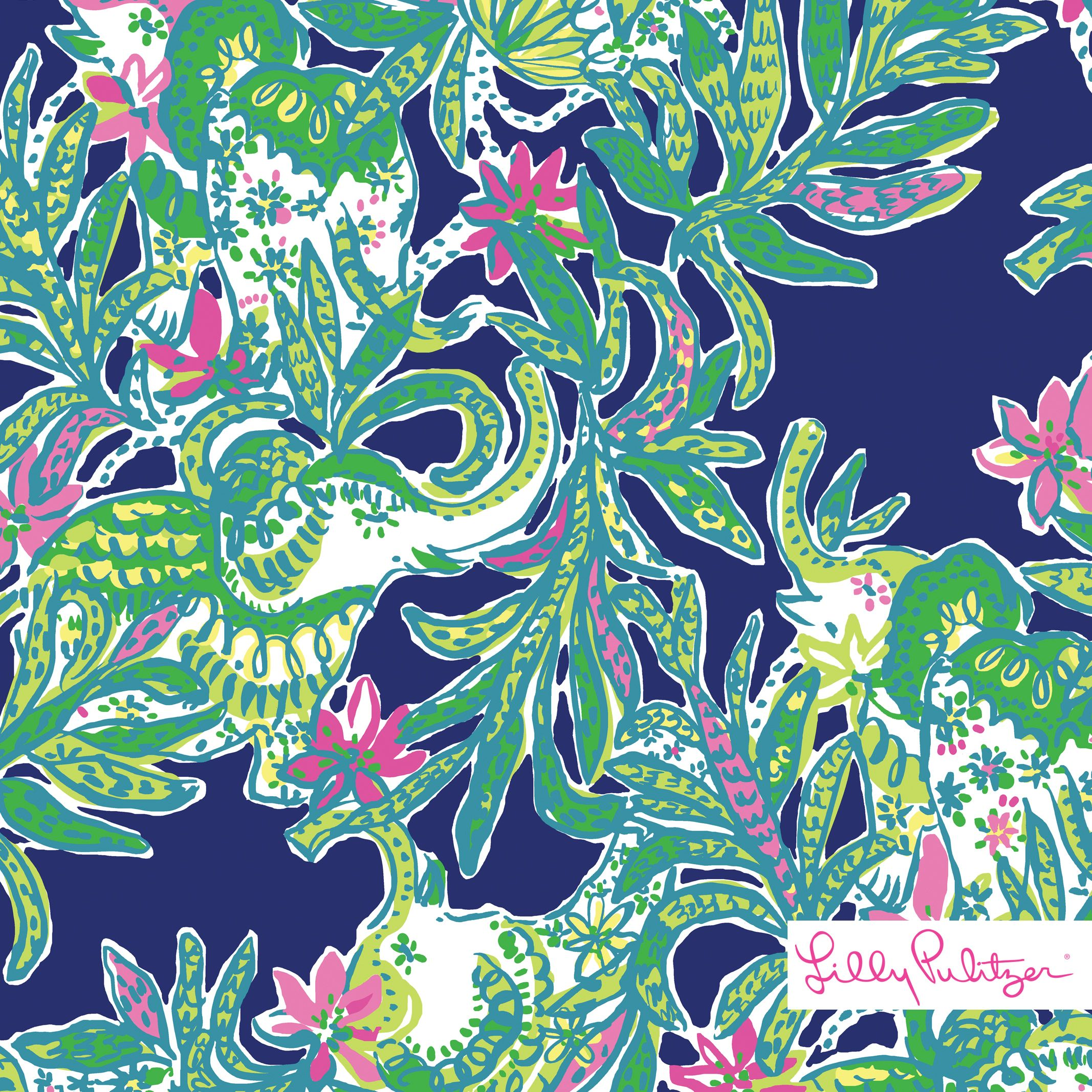 Lilly Pulitzer print with green elephants and pink flower accents on a bright navy background