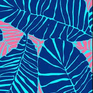 Lilly Pulitzer print fueaturing large teal palm leaves amongst a pink and aqua background with hidden zebras