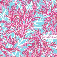 Underwater Escape, a Lilly Pulitzer print with a light blue background covered in pink and white coral