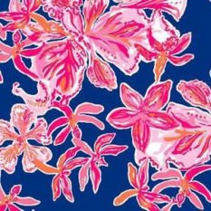 blue and pink lilly pulitzer print with flowers