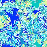 Lilly Pulitzer print with bright blue, aqua and green coral with hidden light pink fish over a brilliant blue background