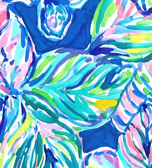 Blue, green and purple Lilly Pulitzer print with leaves