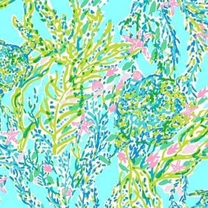 Bright blue, green and pink Lilly Pulitzer print