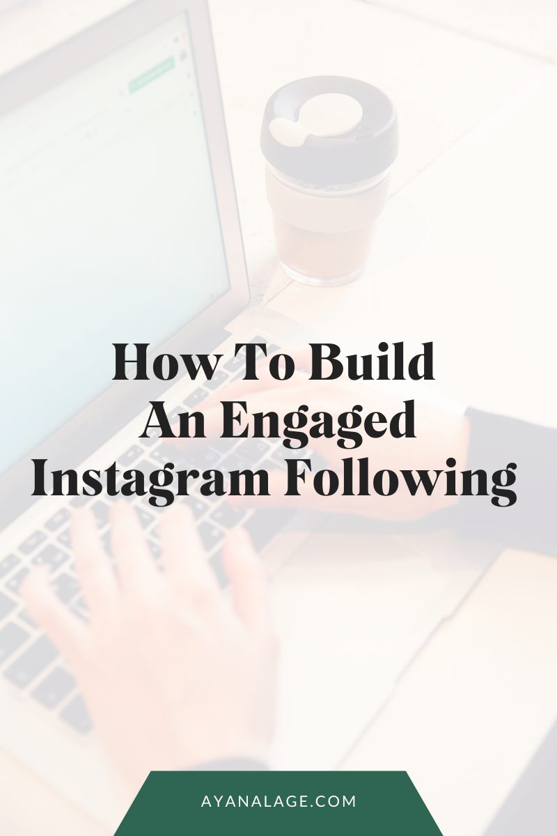 "a man sits at a computer typing with text overlaid that says, ""How to build an engaged Instagram following"""