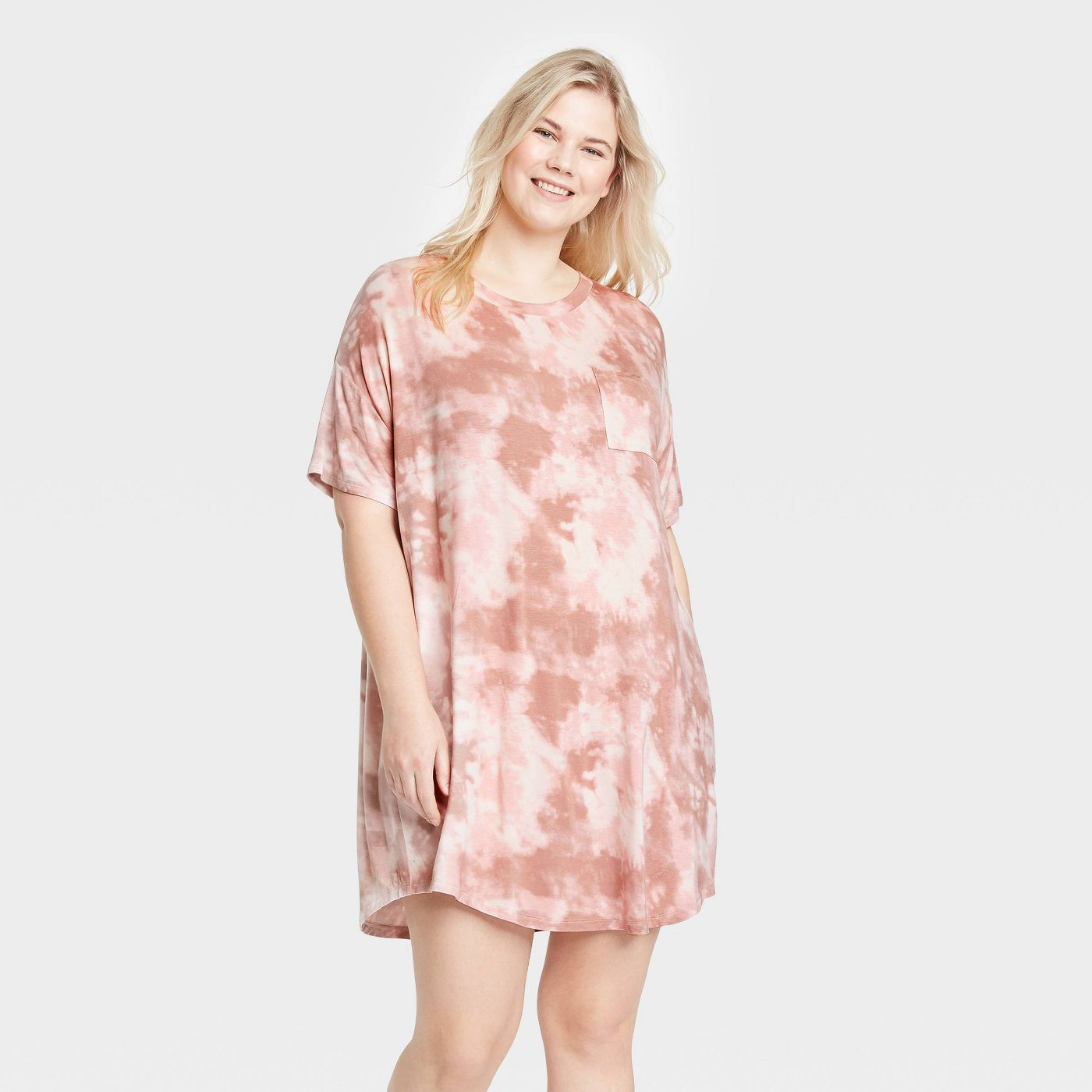 Women's Tie-Dye Short Sleeve Beautifully Soft Nightgown | Best Ever Plus Size Loungewear For Short People