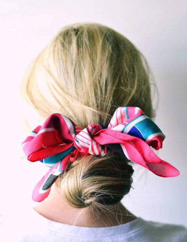 scarf wrapped around hair bun