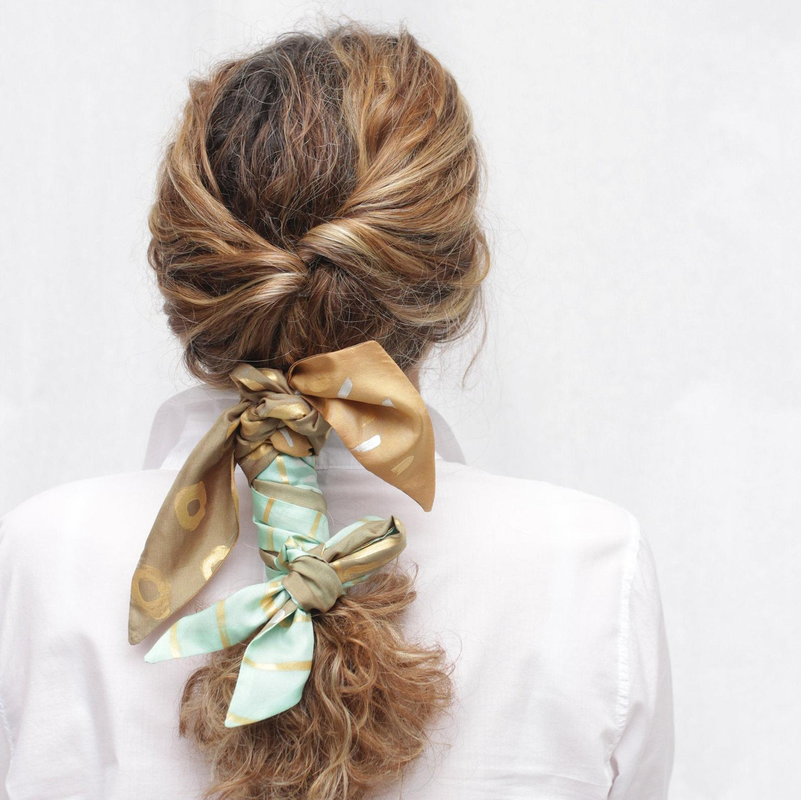 Silk hair scarf braided